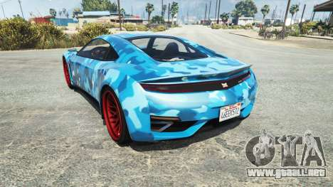 GTA 5 Dinka Jester (Racecar) Camo Blue vista lateral izquierda trasera