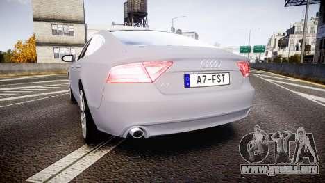Audi A7 para GTA 4 Vista posterior izquierda
