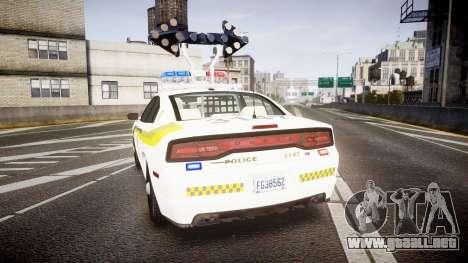 Dodge Charger Surete Du Quebec [ELS] para GTA 4 Vista posterior izquierda