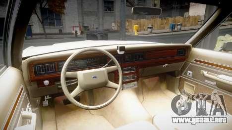 Ford LTD Crown Victoria 1987 Detective [ELS] para GTA 4 vista hacia atrás
