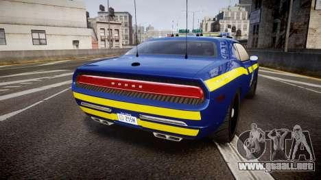 Dodge Challenger NYSP [ELS] para GTA 4 Vista posterior izquierda