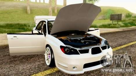 Subaru Impreza WRX STI Stance para GTA San Andreas vista hacia atrás