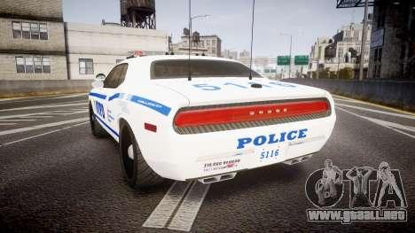 Dodge Challenger NYPD [ELS] para GTA 4 Vista posterior izquierda