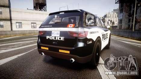 Dodge Durango Alderney Police para GTA 4 Vista posterior izquierda