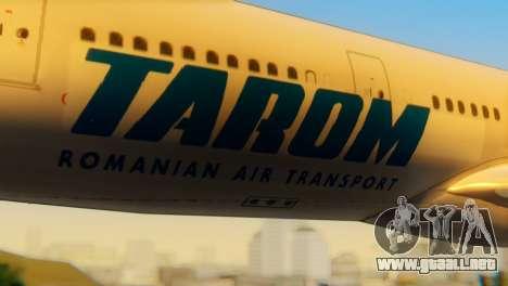 Airbus A330 TAROM Romania para GTA San Andreas vista hacia atrás
