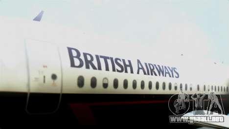 Airbus A320-200 British Airways para GTA San Andreas vista hacia atrás
