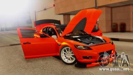 Mazda RX8 Drifter para GTA San Andreas vista hacia atrás