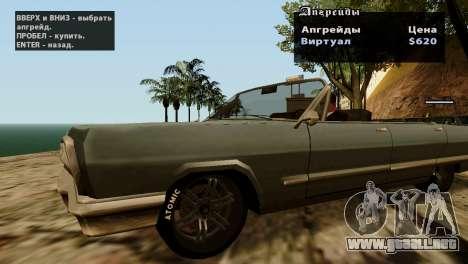 Ruedas de GTA 5 v2 para GTA San Andreas quinta pantalla