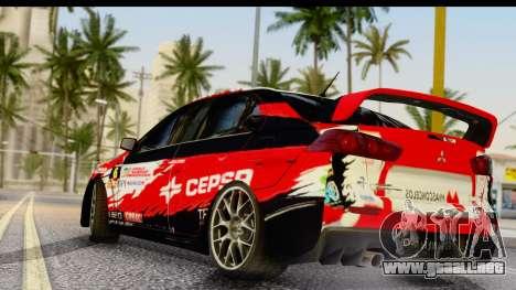 Mitsubishi Lancer Evo X Nunes para GTA San Andreas left