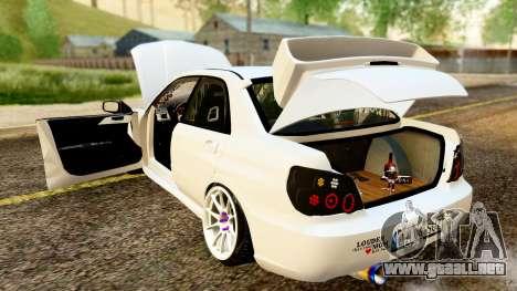 Subaru Impreza WRX STI Stance para visión interna GTA San Andreas