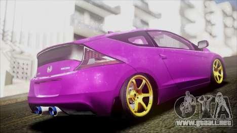 Honda CRZ Hybird Pink Cute para GTA San Andreas vista posterior izquierda