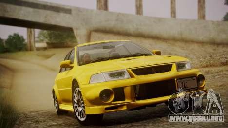 Mitsubishi Lancer Evolution VI 1999 PJ para GTA San Andreas vista hacia atrás
