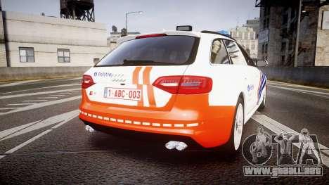 Audi S4 Avant Belgian Police [ELS] orange para GTA 4 Vista posterior izquierda