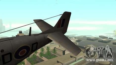 P-51D Mustang para GTA San Andreas vista posterior izquierda
