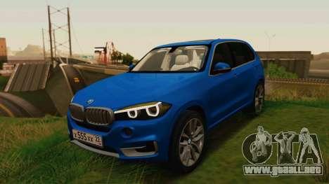 BMW X5 F15 2014 para GTA San Andreas vista hacia atrás