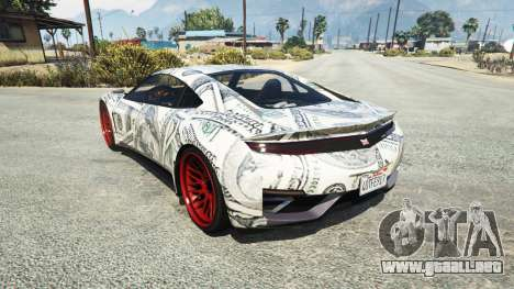 GTA 5 Dinka Jester (Racecar) Dollars vista lateral izquierda trasera