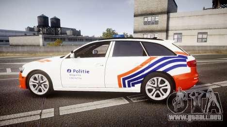 Audi S4 Avant Belgian Police [ELS] orange para GTA 4 left
