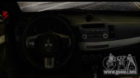 Mitsubishi Lancer Evo X Nunes para la visión correcta GTA San Andreas