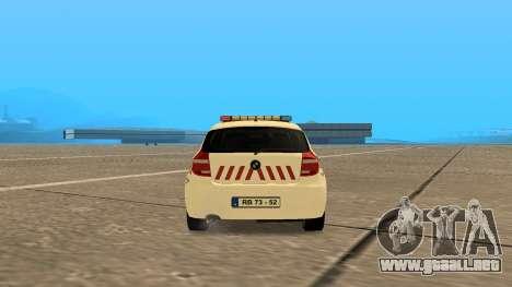 BMW 120i E87 Policía húngara para GTA San Andreas vista posterior izquierda