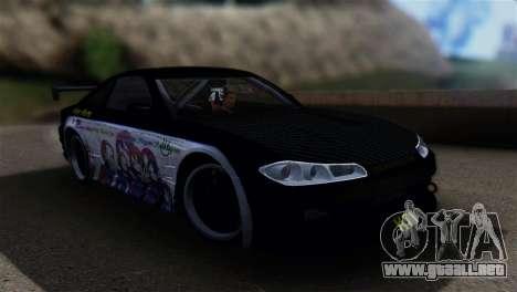 Nissan Silvia S15 K-on Itasha para GTA San Andreas vista posterior izquierda