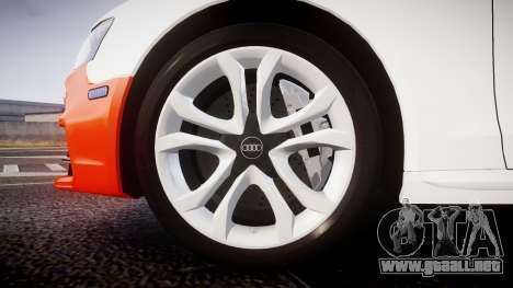 Audi S4 Avant Belgian Police [ELS] orange para GTA 4 vista hacia atrás