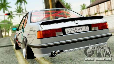 BMW M635CSi E24 1984 para GTA San Andreas vista posterior izquierda