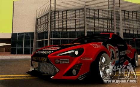 Toyota GT86 ZeroZver para GTA San Andreas vista posterior izquierda