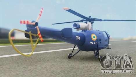Indian Navy CHETAK Heli Skin para GTA San Andreas left
