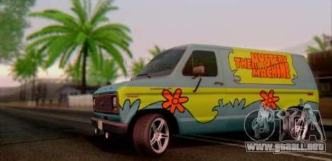 Ford E-150 Scooby Doo para GTA San Andreas vista posterior izquierda