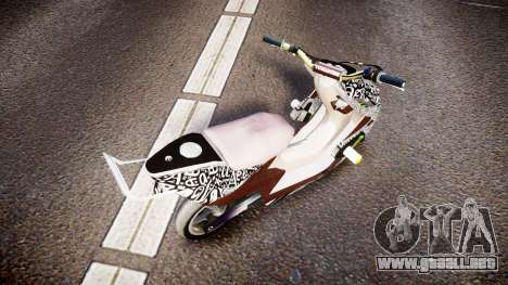 Yamaha Aerox Stunt para GTA 4 Vista posterior izquierda