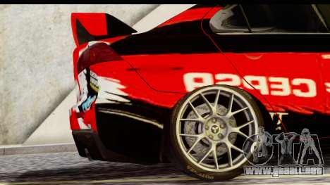 Mitsubishi Lancer Evo X Nunes para GTA San Andreas vista posterior izquierda
