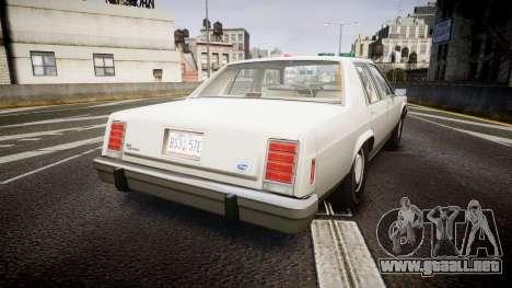 Ford LTD Crown Victoria 1987 Detective [ELS] para GTA 4 Vista posterior izquierda