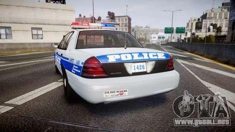 Ford Crown Victoria Liberty Police [ELS] para GTA 4 Vista posterior izquierda