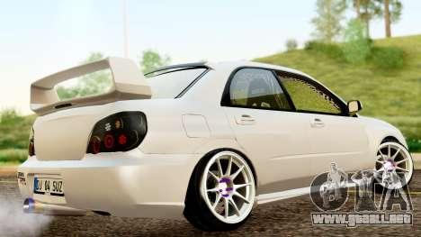 Subaru Impreza WRX STI Stance para GTA San Andreas vista posterior izquierda