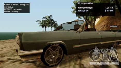 Ruedas de GTA 5 v2 para GTA San Andreas sucesivamente de pantalla