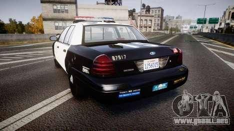 Ford Crown Victoria 2011 LAPD [ELS] rims2 para GTA 4 Vista posterior izquierda