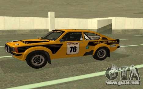 Opel Kadett Rally para GTA San Andreas left