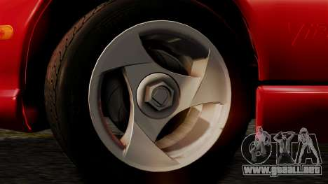 Dodge Viper RT 10 1992 para GTA San Andreas vista posterior izquierda