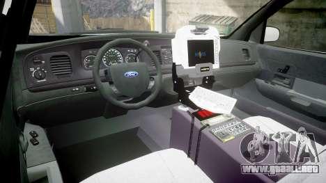 Ford Crown Victoria Bohan Police [ELS] WL para GTA 4 vista hacia atrás