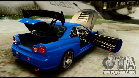 Nissan Skyline GT-R (BNR34) Tuned para visión interna GTA San Andreas