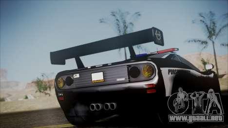 NFS Rivals McLaren F1 LM para GTA San Andreas vista posterior izquierda