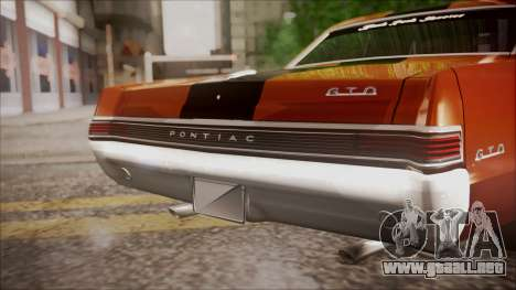Pontiac GTO 1965 para GTA San Andreas vista hacia atrás