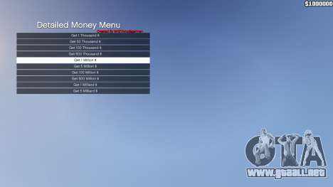 GTA 5 Detailed Money Menu segunda captura de pantalla