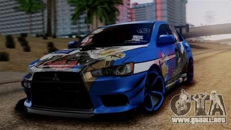 Mitsubishi Lancer Evolution X Taihou Itasha para GTA San Andreas