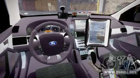 Ford Falcon FG XR6 Turbo Police [ELS] para GTA 4 vista hacia atrás