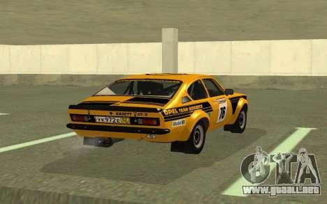 Opel Kadett Rally para GTA San Andreas vista posterior izquierda