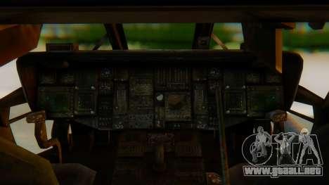 MH-60L Blackhawk para GTA San Andreas vista hacia atrás