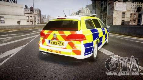 Volkswagen Passat B7 North West Police [ELS] para GTA 4 Vista posterior izquierda