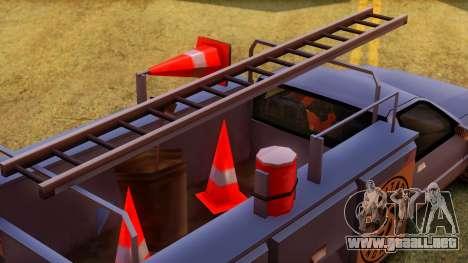 Premier Utility Van para GTA San Andreas vista hacia atrás