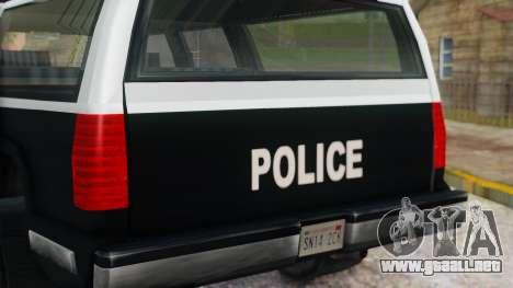 Police 4-door Yosemite para GTA San Andreas vista hacia atrás